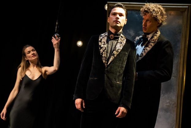 Pictures of Dorian Gray - Jermyn Street Theatre - Augustina Seymour (Sibyl Vane), Stanton Wright (Dorian Gray) & Richard Keightley (Henry Wotton). Credit - S R Taylor Photography